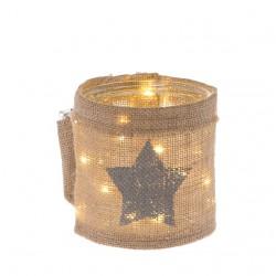 Lanterna in vetro e juta con stella argento e luci a led 13 cm