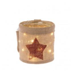 Lanterna in vetro e juta con stella rosso borgogna e luci a led 13 cm