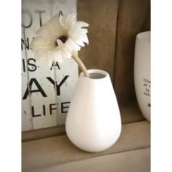 Vaso bianco in ceramica con testa uccellino mobile
