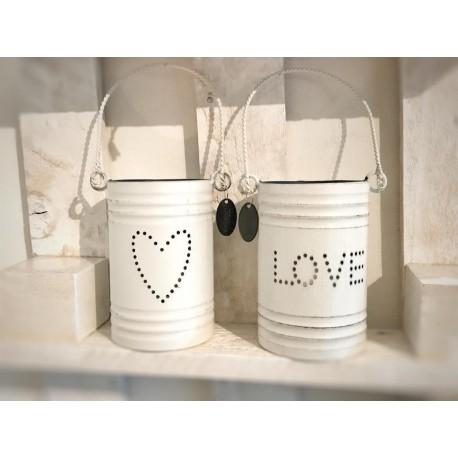Porta tealight Love in metallo bianco con manico
