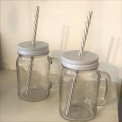Bicchiere barattolo con cannuccia