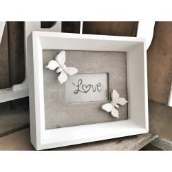 Cornice legno Love con farfalle