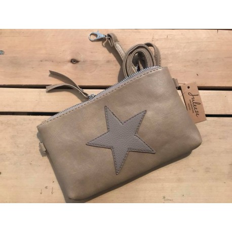 Borsa a tracolla in pelle beige Starry