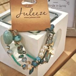 Bracciale Azur con pietre dure, charms e perle di vetro