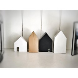 Set di 4 casette in legno naturale, bianco, nero