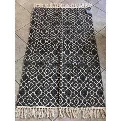 Tappeto in cotone bianco e nero 110x65 cm