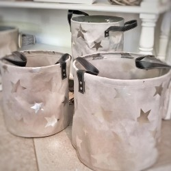 Cesto grigio rotondo con manici Star S (disponibile set di 3)