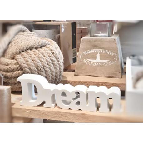Scritta Dream in legno laccato bianco