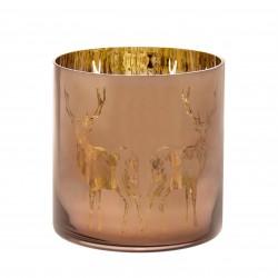 Lanterna in vetro smaltato bronzo Reindeer