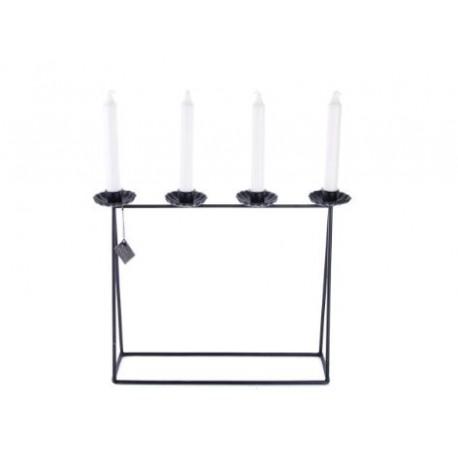 Porta candele coniche in metallo scuro Debbi
