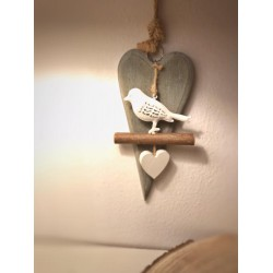 Cuore in legno con uccellino in metallo