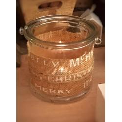 Lanterna porta candela in vetro e juta Merry Xmas