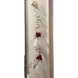 Filo a spirale con uccellini in legno e ampolline in vetro porta fiori