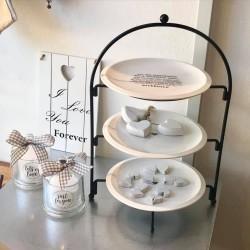 Alzata a 3 piani in ceramica Love bianco