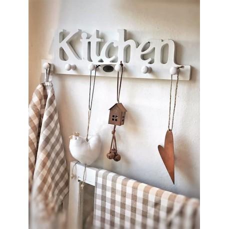 Supporto in legno bianco con ganci Kitchen