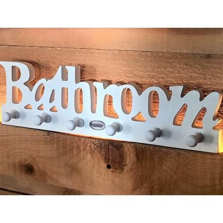Supporto in legno bianco con ganci Bathroom