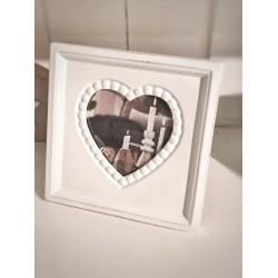 Cornice portafoto quadrata bianca cuore