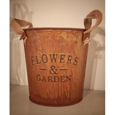 Vaso in metallo effetto ruggine Flowers & Garden con manici