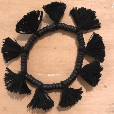 Bracciale nero con nappine