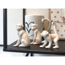 Scimmia decorativa Mowgli ceramica bianca 3 ass