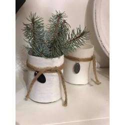 Porta tealight in lino bianco Evry (misura S)
