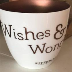 Porta tealight Wishes & Wonder bianca e bronzo