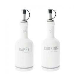 Set di bottiglie olio e aceto Happy Cooking