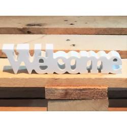 Scritta Welcome in legno laccato bianco