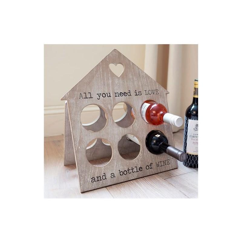 Porta bottiglie di vino in legno birds in love for Porta vino in legno