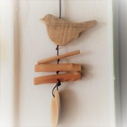 Decorazione uccellino in legno da appendere 25 cm