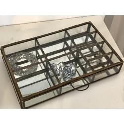 Scatola in ottone anticato, vetro e specchio con scomparti porta bijoux