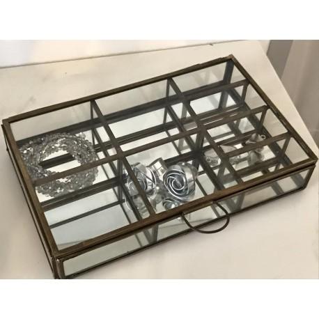 Scatola in ferro e vetro con scomparti porta bijoux