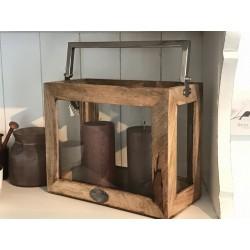 Lanterna Rowan in legno con manico in metallo