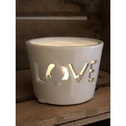 Porta tealight in ceramica bianca e azzurra Love