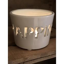 Porta tealight in ceramica bianca e azzurra Happiness