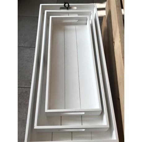 Vassoio rettangolare in legno bianco L