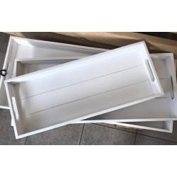 Vassoio rettangolare in legno bianco M