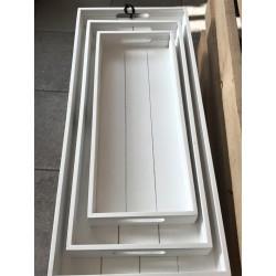 Vassoio rettangolare in legno bianco S