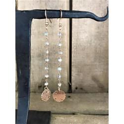 Orecchini rosario pendenti, anallergici grigio chiaro