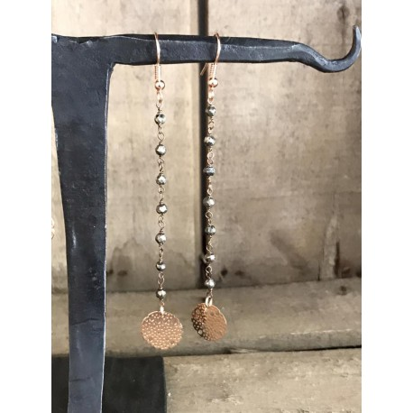 Orecchini rosario pendenti, anallergici grigio scuro
