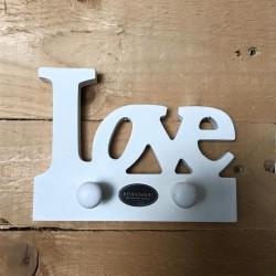 Supporto in legno bianco con ganci Love 15 cm