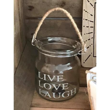 Lanterna Live Laugh Love con manico in juta