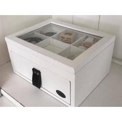 Scatola Pure in legno bianca con cassetto a sei scomparti