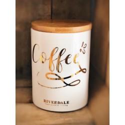 Contenitore ermetico in ceramica bianca con coperchio in bambù Coffee