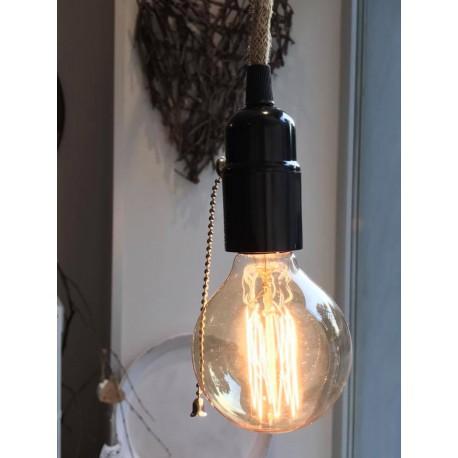 Porta lampadina nero con interruttore a catenella e filo in juta