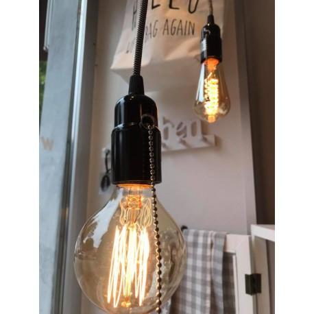 Porta lampadina nero con interruttore a catenella e filo bianco e nero 3 metri