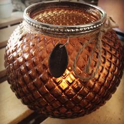 Lanterna in vetro color bronzo
