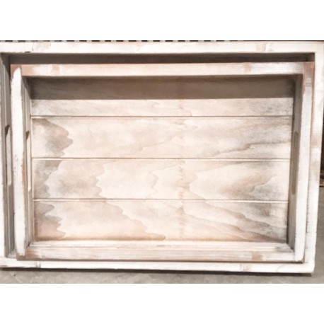 Vassoio in legno white washed