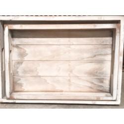 Vassoio in legno white washed L