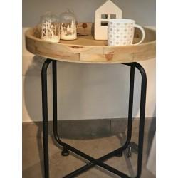 Tavolino con gambe in metallo e piano asportabile in legno